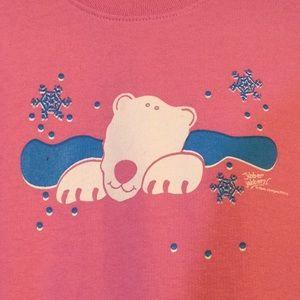 Pink Sweatshirt with polar bear & snowflakes, NWT